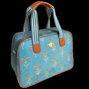 Niebieska torba z eleganckimi motywami palm z syntetycznego materiału ze skórzanymi wstawkami.